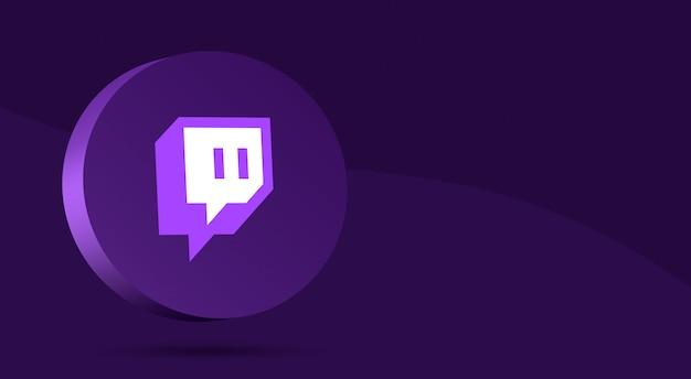 Diseño minimalista del logo de twitch en círculo 3d