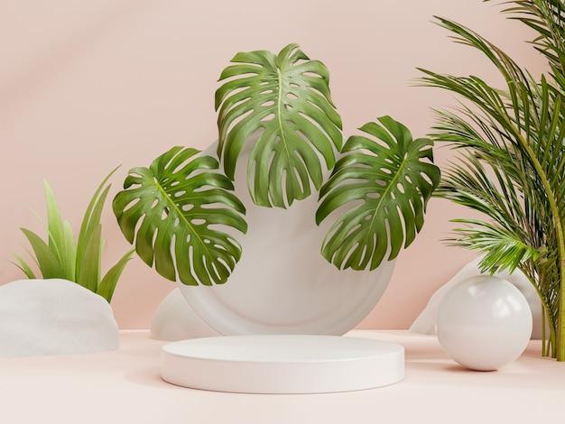 Diseño minimalista del podio de presentación del producto con un fondo de color rosa claro representación 3d Foto Premium