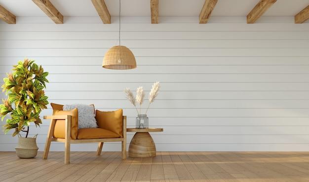 Diseño minimalista de sala de estar con sillón en pared blanca y techo con vigas, renderizado 3d
