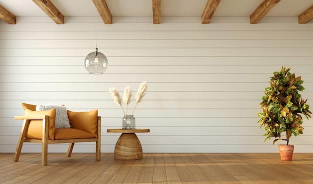 Diseño minimalista de sala de estar con sillón y planta croton en pared blanca, renderizado 3d