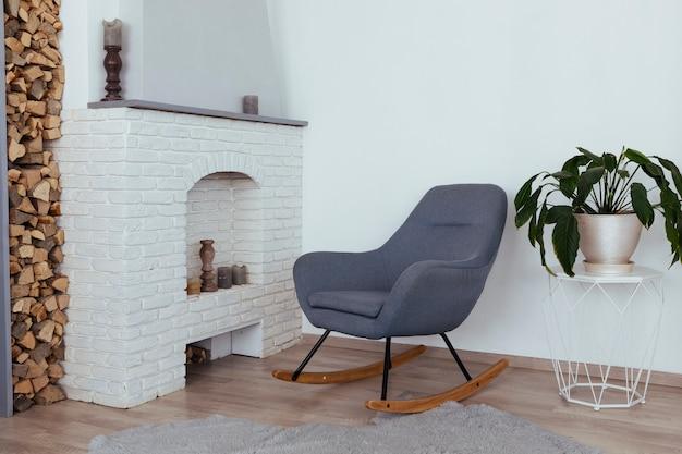 Diseño minimalista de sala de estar vintage