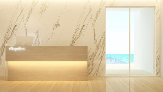 Diseño de mostrador de recepción y piscina con vistas al mar para el hotel
