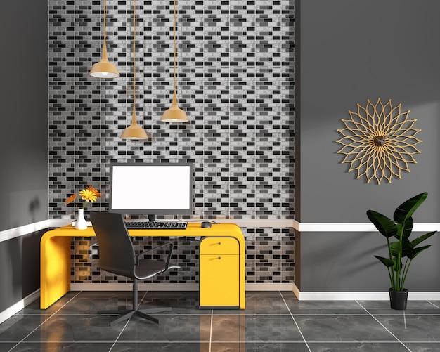 Diseño negro de la pared de la teja de mosaico en la teja negra del granito en oficina del taller. representación 3d