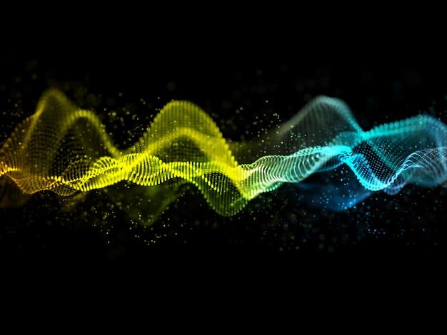 Diseño de ondas de sonido abstractas 3d con partículas que fluyen