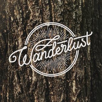 Diseño de palabras caligrafía wanderlust travel