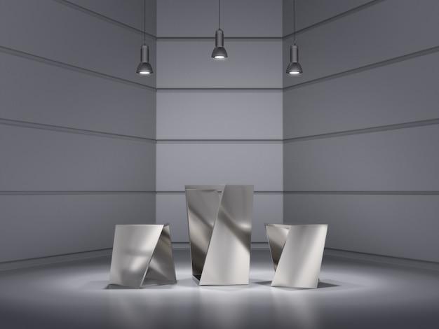 Diseño de pedestales de metal para mostrar el producto con un punto de luz en el espacio.