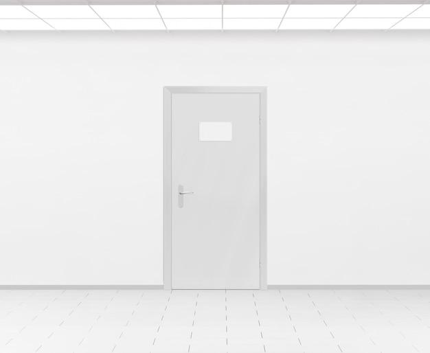 Diseño de placa de identificación en blanco entregando en la puerta