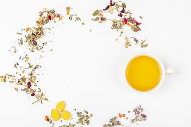 Diseño plano laico de taza de té verde con una variedad de diferentes hojas de té secas y jengibre sobre fondo blanco, espacio para copiar texto