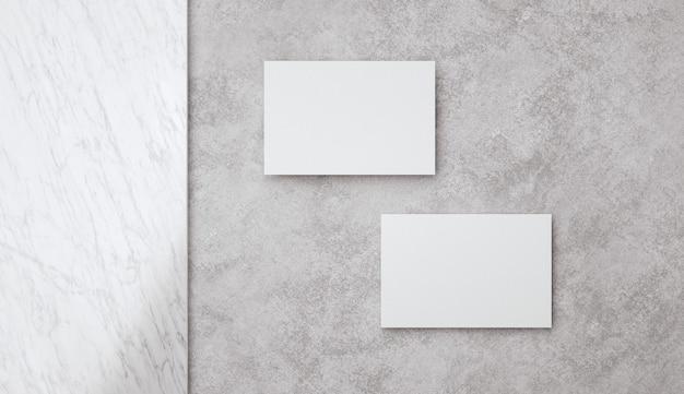 Diseño de plantilla de dos tarjetas de visita blancas en blanco