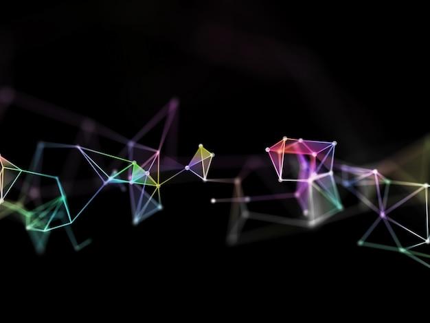 Diseño de plexo de poli baja colorido 3d con poca profundidad de campo