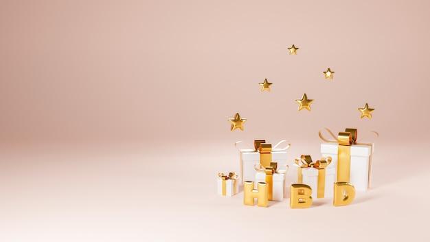Diseño premium de feliz cumpleaños con caja de regalo, estrella dorada. representación 3d
