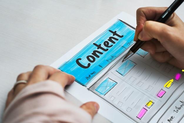 Diseño de producto dibujo gráfico de sitio web