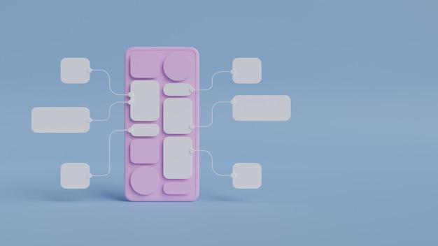 Diseño de prototipo de desarrollo de aplicaciones de diagrama de flujo de interfaz de usuario ux.concepto de experiencia de usuario.