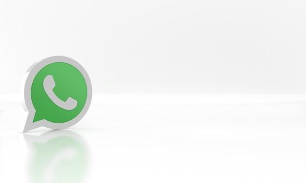 Diseño de render 3d brillante del logotipo o símbolo de los medios de comunicación de la red social de whatsapp sobre fondo blanco