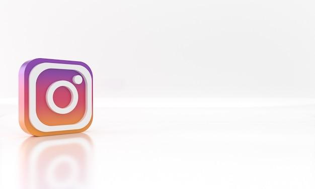 Diseño de render 3d brillante del logotipo o símbolo de redes sociales de instagram sobre fondo blanco