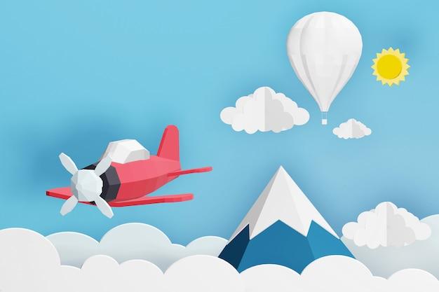 Diseño de renderizado 3d, estilo de arte en papel del avión rosa volando y globo blanco en el cielo.
