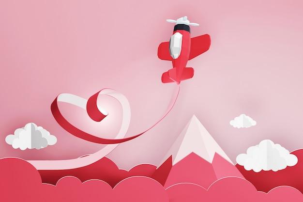 Diseño de renderizado 3d, estilo de arte en papel de la cinta del corazón con el avión rojo volando en el cielo.