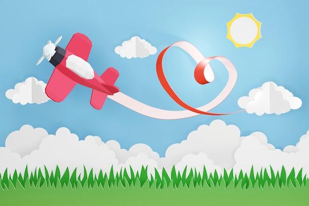 Diseño de renderizado 3d, estilo de arte en papel de la cinta del corazón con avión rosa volando en el cielo.