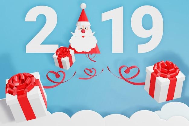 Diseño de renderizado 3d, estilo de arte en papel de feliz año nuevo 2019 y gorro de papá noel con dispersión