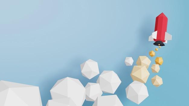 Diseño de renderizado 3d, lanzamiento de cohete en el cielo sobre un fondo azul.