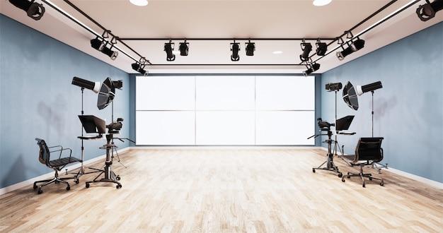 Diseño de la sala azul del estudio de noticias telón de fondo para programas de televisión
