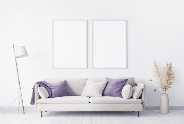 Diseño de sala de estar brillante con maqueta de marco de póster
