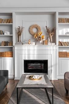 Diseño de sala de estar con detalles