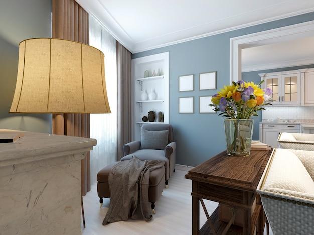Diseño de sala de estar de estilo clásico.