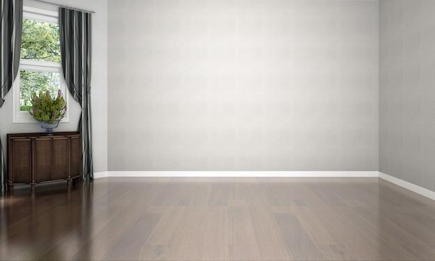 Diseño de sala de estar vacía interior de lujo moderno y decoración de fondo de pared de textura blanca y representación 3d de piso de madera