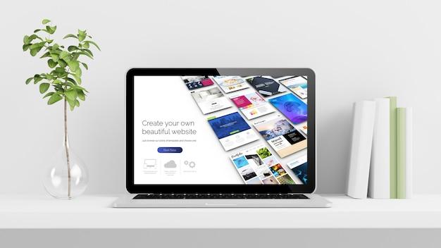 Diseño de sitios web en la pantalla del portátil en el escritorio con planta y libros 3d rendering