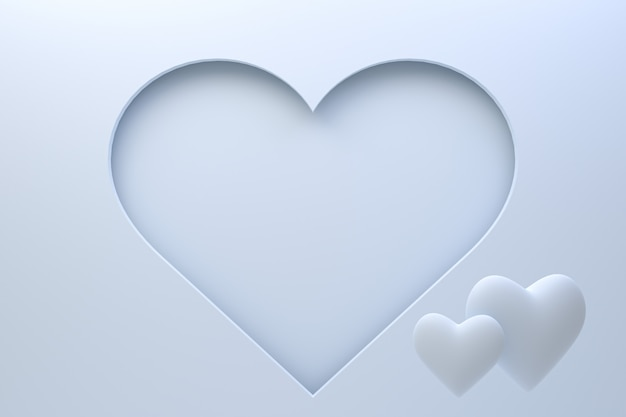 Diseño de tarjeta de felicitación de representación 3d, corazones cian con letras postal. fondo de amor para el diseño de tarjeta de felicitación de feliz día de san valentín o amor de mamá.