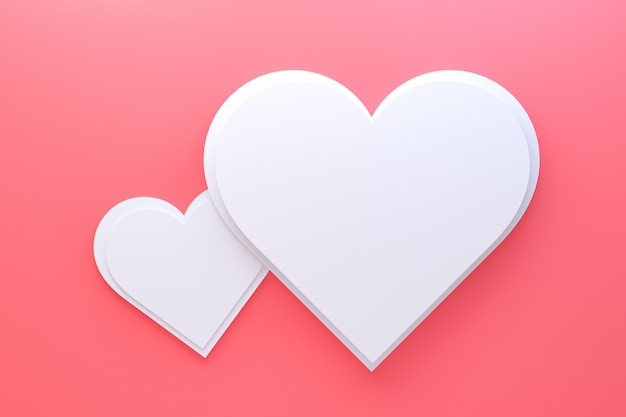 Diseño de tarjeta de felicitación de representación 3d, corazones rojos con letras postal. fondo de amor para el diseño de tarjeta de felicitación de feliz día de san valentín o amor de mamá.