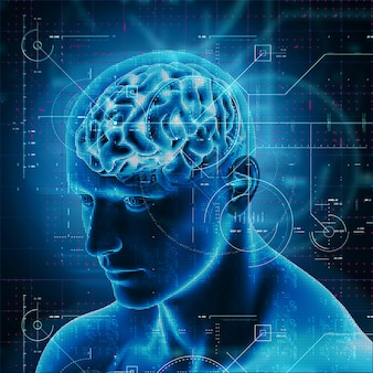 Diseño de tecnología médica en 3d sobre figura masculina con cerebro resaltado