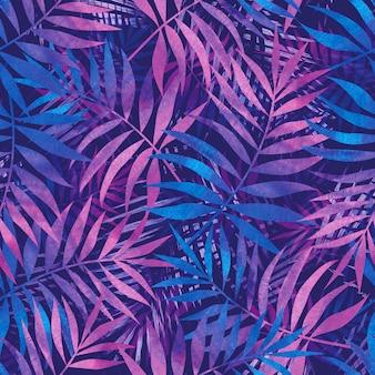 Diseño para tela, textura. hojas de patrones sin fisuras púrpura con palmeras tropicales. dibujo a mano.