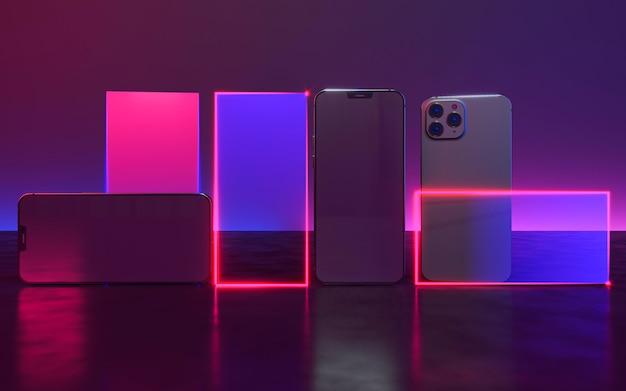 Diseño de teléfono con luz de neón.