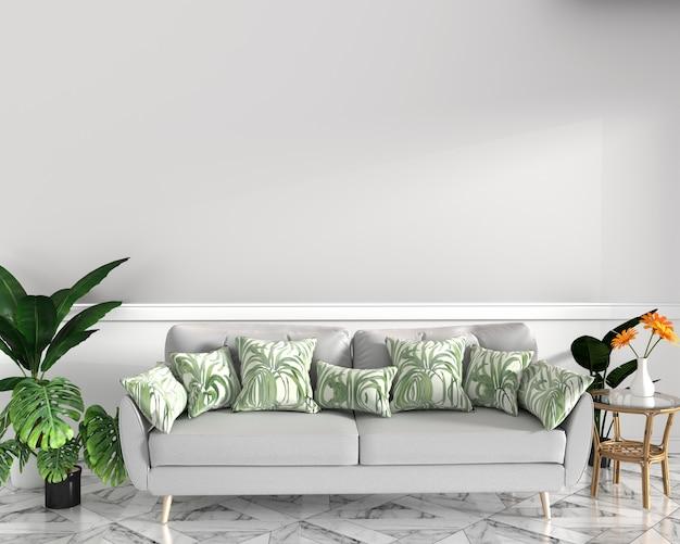 Diseño tropical, sillón, planta, gabinete en piso de granito y fondo blanco