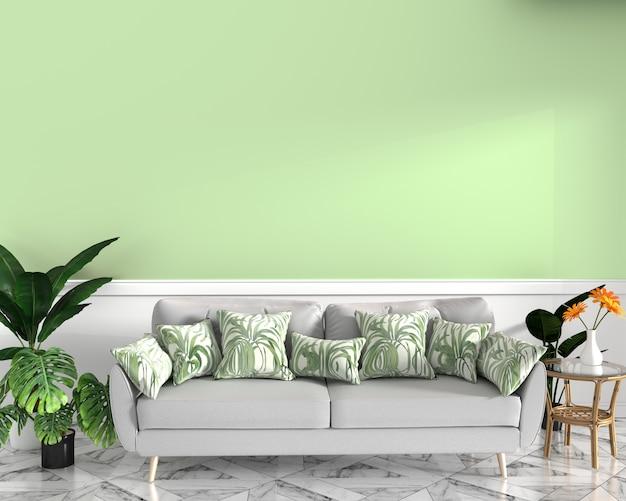 Diseño tropical, sillón, planta, gabinete en piso de granito y fondo verde. representación 3d