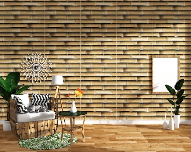 Diseño tropical, sillón, planta, gabinete sobre piso de madera y azulejo de bambú background.3 d render