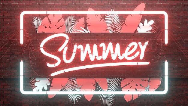 Diseño tropical de verano de neón en 3d con hojas de palmeras exóticas