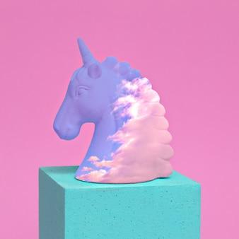 Diseño de unicornio en el espacio de la geometría. arte minimalista
