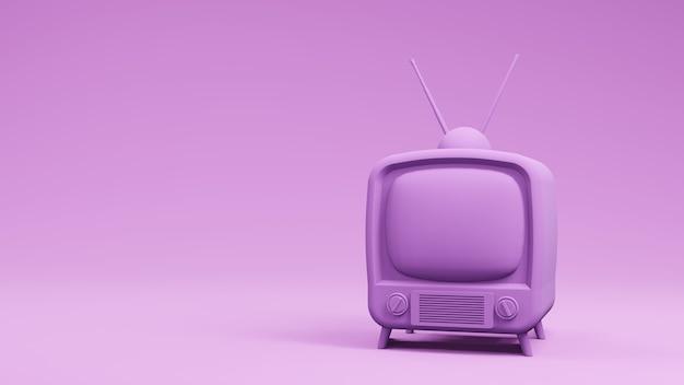 Diseño vintage de televisión tv, render 3d
