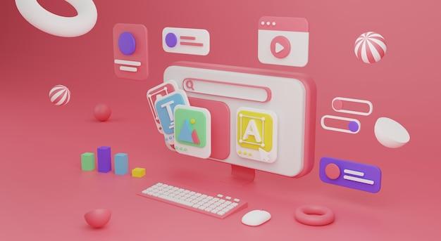 Diseño web concepto de desarrollo web creación web ilustración de render 3d foto premium