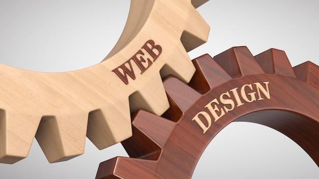 Diseño web escrito en rueda dentada.