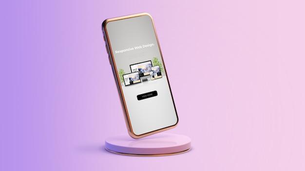 Diseño web receptivo en renderizado 3d de smartphone