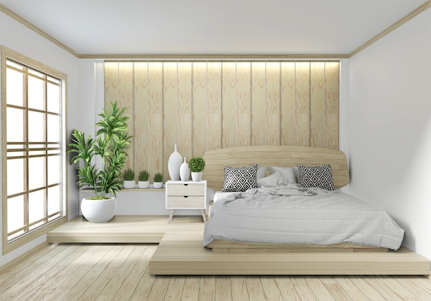 Diseño de zen japonés de habitación de hotel de madera con luz hiden sobre fondo de pared blanca