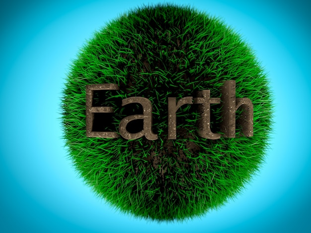 Disparo conceptual tierra escrito por suelo en bola de hierba. concepto de medio ambiente