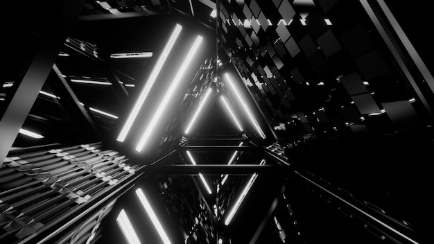 Disparo en escala de grises del espectáculo láser de líneas brillantes de luces de neón