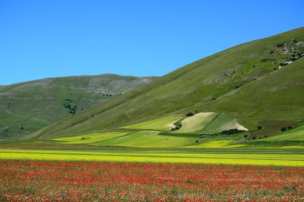 Disparo horizontal del impresionante y colorido paisaje del pueblo de castelluccio