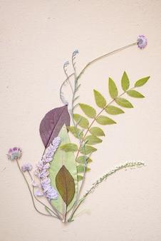 Disparo vertical de una bella composición de flores y hojas sobre fondo blanco.