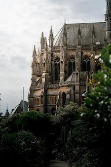 Disparo vertical del castillo y la catedral de arundel, rodeado por un hermoso follaje, durante el día